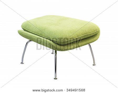 Mid-century Light Green Fabric Ottoman With Chromium Legs. 3D Render.