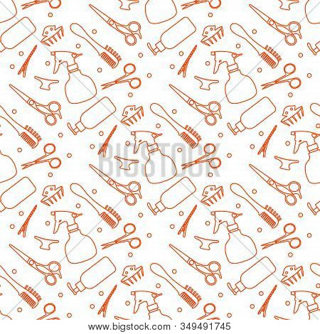 Vector Seamless Pattern Professional Hairdresser Tools Barbershop. Beauty, Hairdressing Salon. Manic