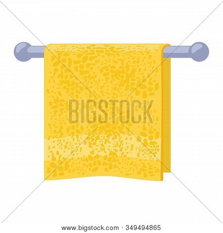 Yellow Soft Terry Towel Hanging On Metal Holder Attached To Wall. Light Red Bathroom Or Washroom Int