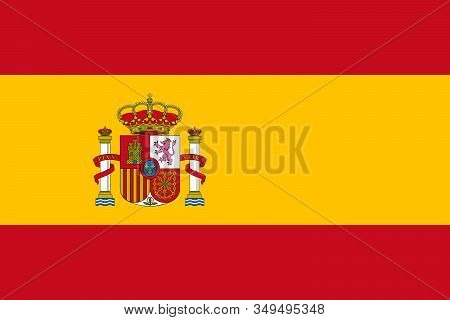 Spain Flag Sign. Spanish Flag In Official Colors And With Aspect Ratio Of 2:3. Vector Illustration