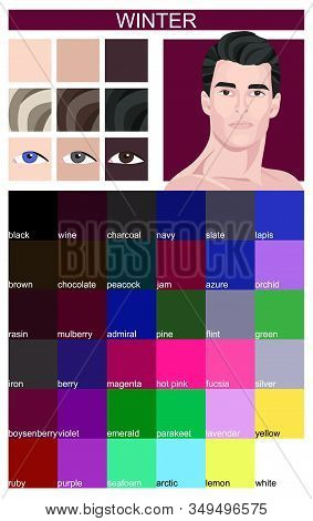Stock Vector Color Guide With Color Names. Eyes, Skin, Hair Color. Seasonal Color Analysis Palette F