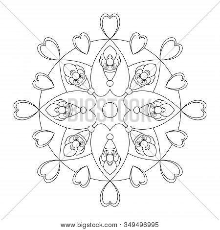 Santa Claus And Hearts. Mandala Christmas Coloring Page. Vector Illustration