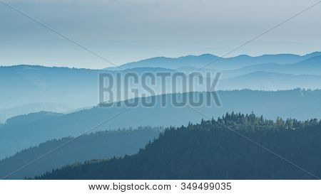 View From The Feldberg Over Hazy Hills.