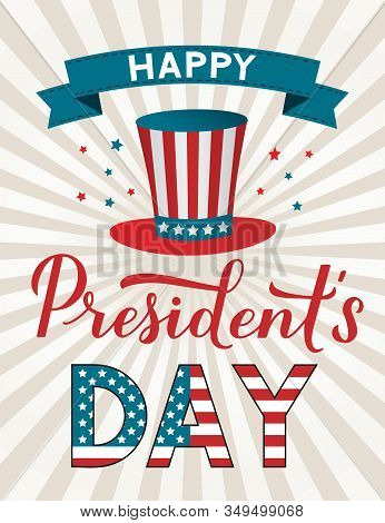 Happy Presidents Day Calligraphy Hand Lettering. American Retro Patriotic Striped Background With Un