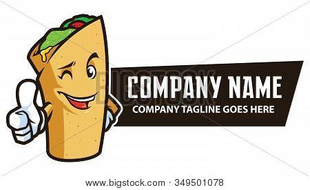 Cool Mascot Design For A Food Wrap Like Doner Kebab, Durum, Burrito Or Taco.