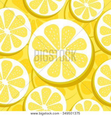 Citrus Lemon Pattern. Yellow Lemon On Blue Background. Lemon And Sliced Lemons Pattern.summer Seamle