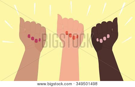 Three Female Hands Of Different Skin Colors Are Raised Up. Flat Cartoon Vector Illustration Isolated