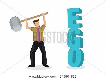 Businessman Fighting His Own Ego By Destroying A 3d Text Of Ego Block When Finding A Way To Success.