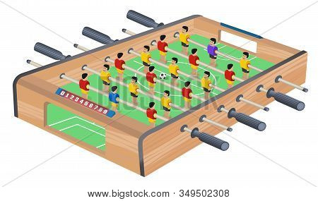 Table Football Game Hobby Or Leisure Isometric View. Wooden Table Soccer. Sport Team Football Player