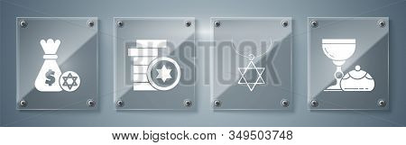 Set Jewish Goblet And Hanukkah Sufganiyot, Star Of David Necklace On Chain, Jewish Coin And Jewish M