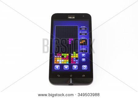 Kouvola, Finland - 23 January 2020: Game Tetris On The Screen Of Smartphone Asus