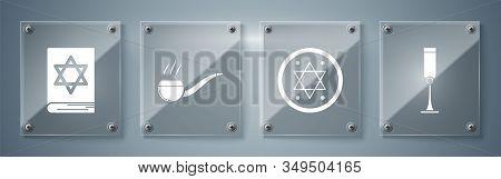 Set Jewish Goblet, Jewish Coin, Smoking Pipe With Smoke And Jewish Torah Book. Square Glass Panels.