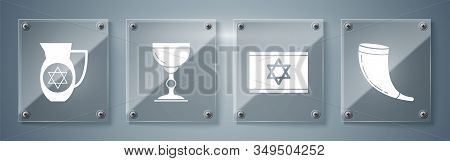 Set Traditional Ram Horn, Shofar, Flag Of Israel, Jewish Goblet And Decanter With Star Of David. Squ