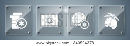 Set Olives Branch, World Globe And Israel, Flag Of Israel And Jewish Coin. Square Glass Panels. Vect