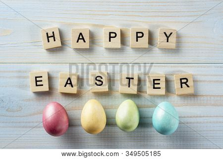 Happy Easter. The Easter Bunny, A Nest With Eggs. Color Picture, Easter Eggs. Tinted Effect. Blue Ba