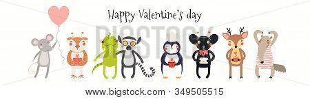 Hand Drawn Card, Banner With Cute Animals, Hearts, Text Happy Valentines Day. Vector Illustration. I