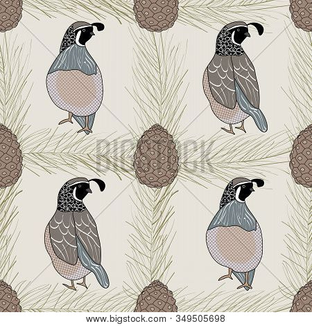 Vector Quail Birds And Pinecones On Beige Background Seamless Repeat Pattern. Background For Textile