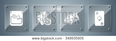 Set Playing Card With Spades Symbol, Game Dice, Playing Cards And Glass Of Whiskey With Ice Cubes An