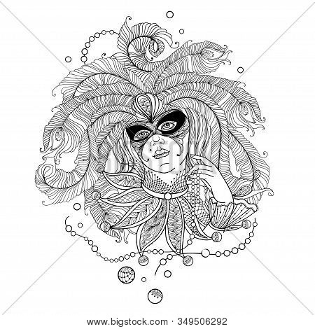 Vector Woman Face In Ornate Mask, Peacock Feathers, Collar And Mardi Gras Beads In Black Isolated On