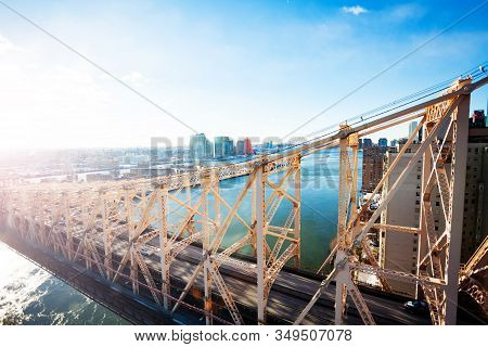 Ed Koch Queensboro Or 59th Street Bridge From New York Over Queens, East River And Hudson