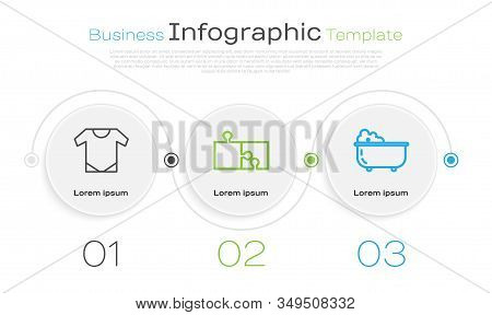 Set Line Baby Onesie, Piece Of Puzzle And Baby Bathtub. Business Infographic Template. Vector