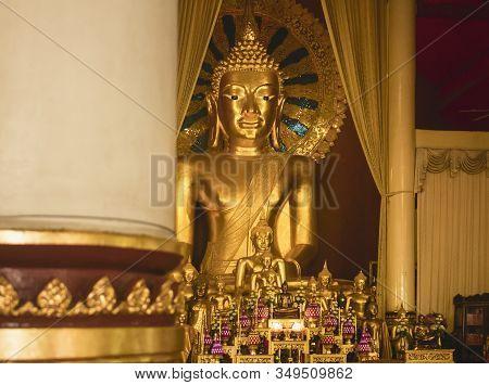 Phra Chao Thong Tip Seated Buddha Statue At Wihan Luang, The Main Prayer Hall At Wat Phra Singh. Chi