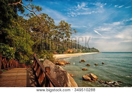 Stunning Nature Of Kuantan. Best Kuantan Beach Resorts Famous For Pristine Nature. Coastline With Tr
