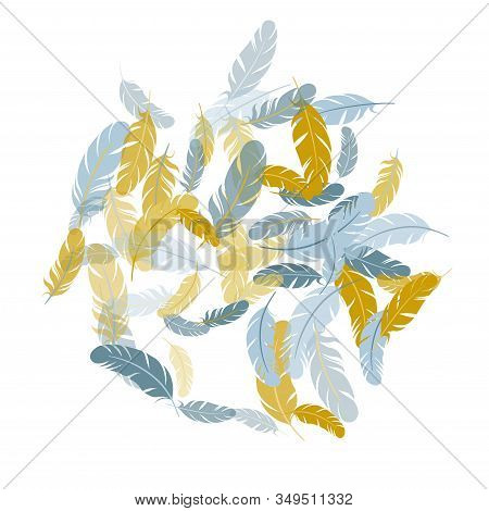Tender Silver Gold Feathers Vector Background. Easy Plumelet Ethnic Indian Graphics. Plumage Trendy