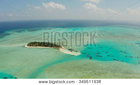 Sand Beach And Tropical Islands By Atoll With Coral Reef, Top View. Onok Island, Balabac, Philippine