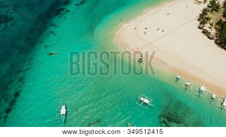 Travel Concept: Sandy Beach On A Tropical Island By Coral Reef Atoll From Above. Daco Island, Philip