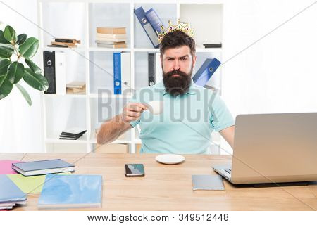King Of Office. Head Of Department. Head Office Concept. Man Bearded Manager Businessman Entrepreneu