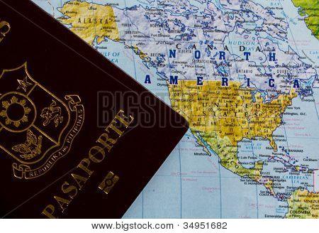 Passport & world map