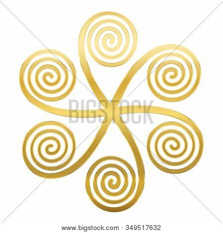 Golden Star Shaped Symbol With Six Linear Arithmetic Spirals, Made Of Archimedean Spirals, Connected