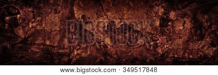 Old Cracked Concrete Wall Wide Texture. Dark Copper Red Gloomy Grunge Long Panoramic Background