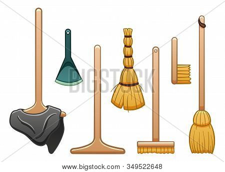 Isolated Mops, Broom, Dustpan, Brush And Besom For Cleaning