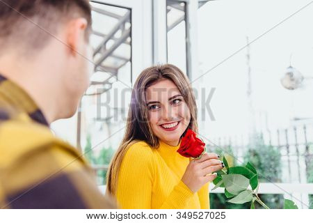Boyfriend Has Date With Sweetheart, Gives Her A Big Red Rose, He Knows Women Like Flowers. Focus Is