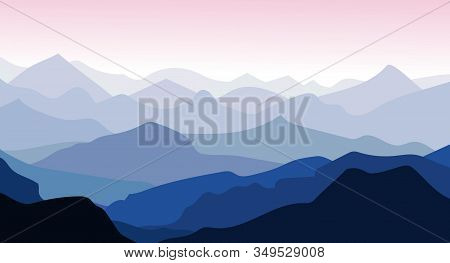 Panorama Vector Illustration Of Mountain Ridges. Silhouettes Of Mountain Peaks In The Morning. Aeria
