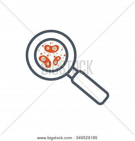 Orange Virus Inside Lupe Design, Bacterium Organism Molecule Microbe Cell Disease Illness Health Med