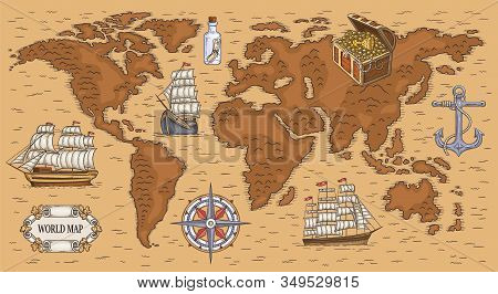 Ancient Cartoon World Map With Sea Ships And Buried Gold Treasure