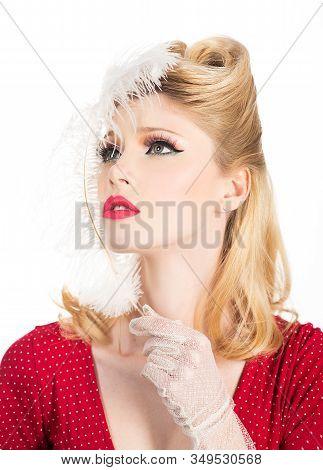Attractive Woman In Red Dress Retro Hairdo. Smiling Retro Woman Portrait. Portrait Of Positive Cheer