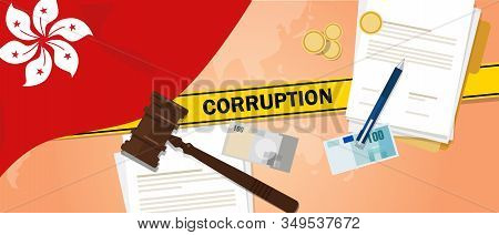Corruption In Hongkong Dirty Money Deal In Business Illegal Cash Financial Transaction. Criminal Cas