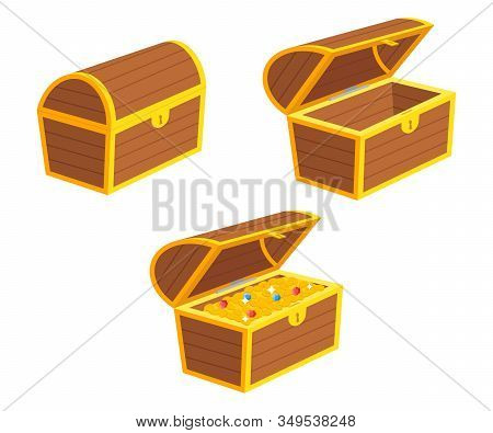 Vector Illstration Of Treasure Chest Set. Flat Design. Isolated.