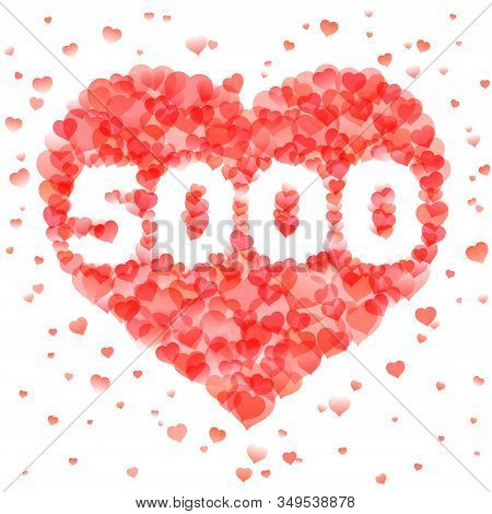 Banner In Thanks For 5000 Followers For Social Network. Number Within Heart Shape Design Template. C