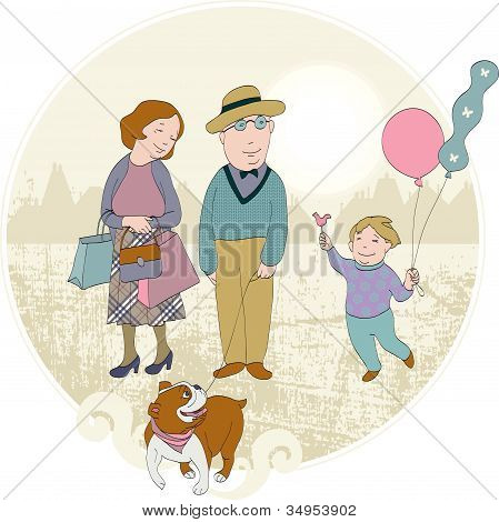 Abstract background with happy family