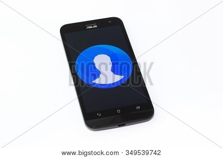 Kouvola, Finland - 23 January 2020: Contacts App Logo On The Screen Of Smartphone Asus