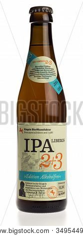 Groningen, Netherlands - February 06, 2020: Bottle Of Non Alcoholic Riegele Ipa Beer Isolated On A W