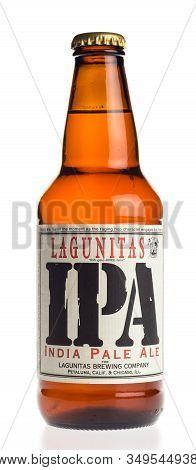 Groningen, Netherlands - February 06, 2020: Bottle Of Lagunitas Ipa Beer Isolated On A White Backgro