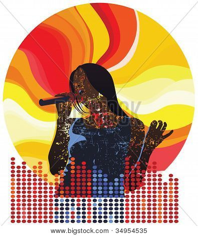 Pop singer on the abstract background for design