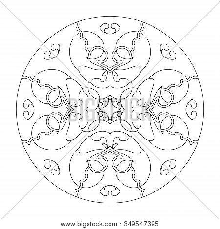 Mandala Coloring Page. Hearts Mandala. Coloring Page, Illustration Vector Black And White. Art Thera