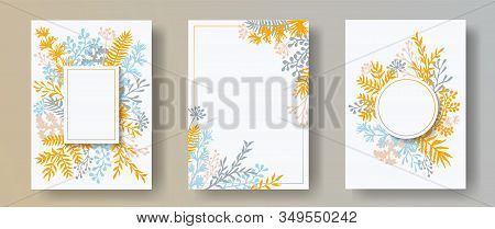 Wild Herb Twigs, Tree Branches, Leaves Floral Invitation Cards Collection. Herbal Frames Retro Cards